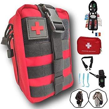 Trousse de premiers secours rouge complète tactique Assemblé en FRANCE+bandoulière+bracelet paracorde+petite trousse+tire tique