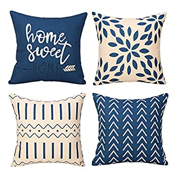 Merrycolor Pillow Covers 18x18 Set of 4 Modern Sofa Throw Pillow Cover Decorative Outdoor Linen Fabric Pillow Case for Couch Bed Car