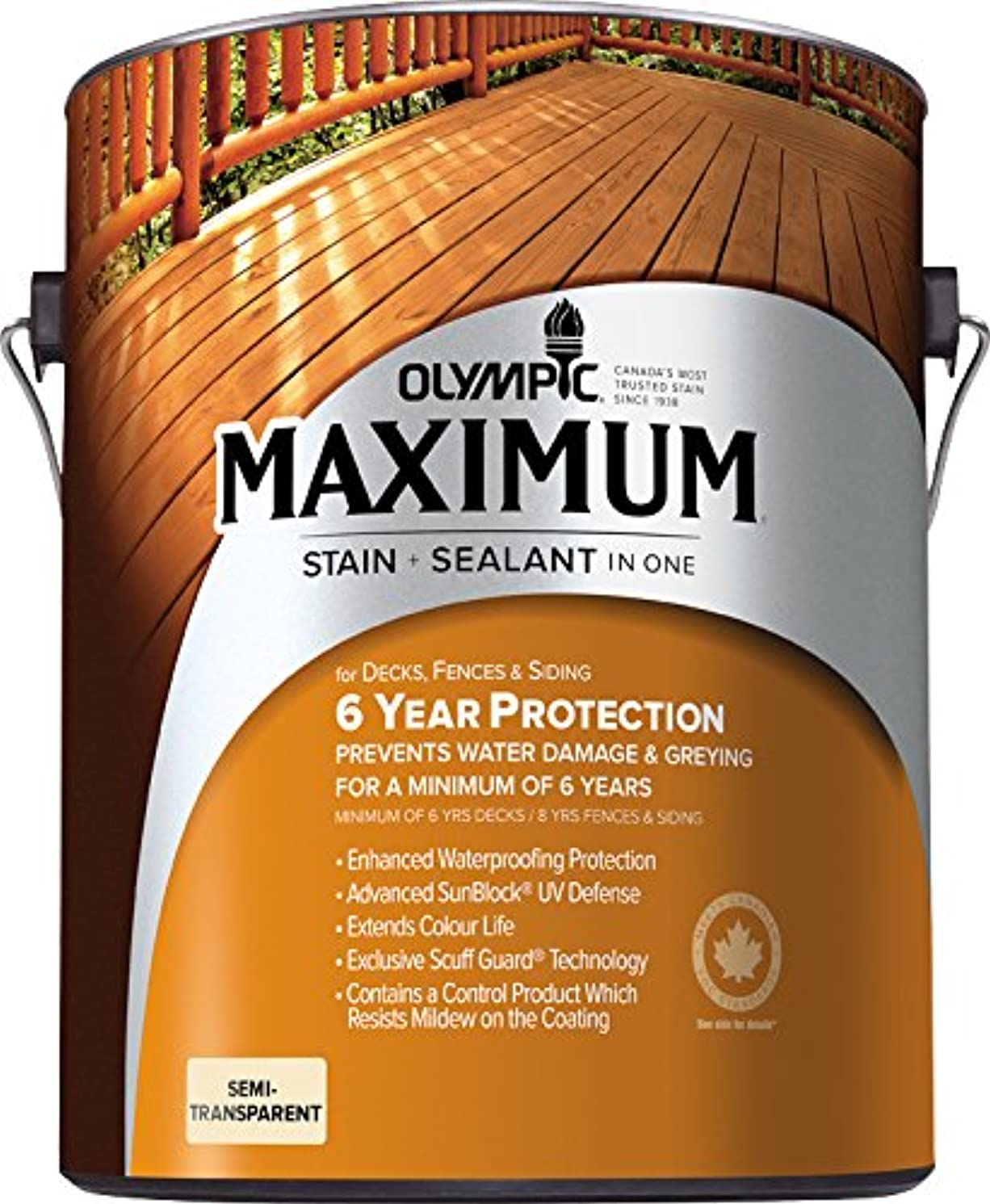 Olympic Stain 79552 Maximum Wood Stain and Sealer, 1 Gallon, Semi-Transparent Stain, Redwood