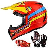 GLX Unisex-Child GX623 DOT Kids Youth ATV Off-Road Dirt Bike Motocross Helmet Gear Combo Gloves Goggles for Boys & Girls (Retro Red, Large)
