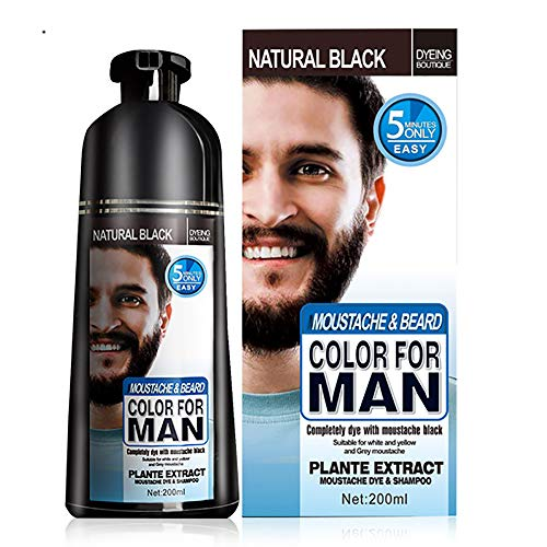 Black Hair and Beard Dye, Beard Coloring Shampoo, Darkening Beard Wash, Simple to Use Temporary Beard Mustache Dye Last 30 days Natural Ingredients Beard Care 200ML