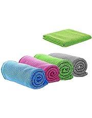 4 Delige Koelhanddoek, Sporthanddoek, Microvezelhanddoek voor Onmiddellijke Verkoeling, Koele Koude Handdoek voor Yoga, Golf, Reizen, Fitness, Kamperen, Voetbal, Buitensporten (100 * 30 cm)