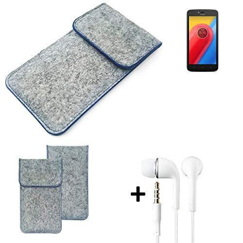 K-S-Trade Filz Schutz Hülle Für Lenovo Moto C LTE Schutzhülle Filztasche Pouch Tasche Handyhülle Filzhülle Hellgrau, Blauer Rand + Kopfhörer