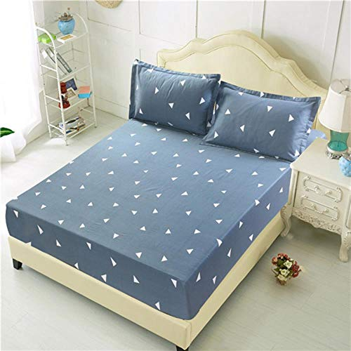 WTMLK 3pc Bed Sheet with Pillowcase Geometric Printed Fitted Sheet With Elastic Bed Linen Polyester Mattress Cover Queen Size,type 1,only 2pcs pillowcase