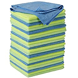 stack of different color microfiber cleaning cloths so you don't make the mistake of clean all surfaces with the same