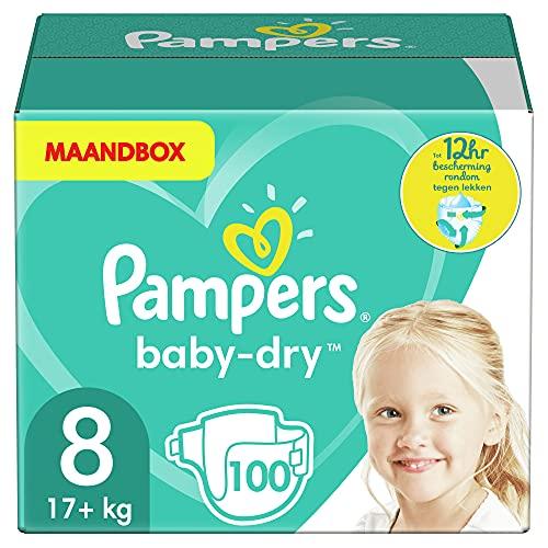 Pampers Baby-Dry Taglia 8, 100 Pannolini, 17 + Kg, Canali Aria per Essiccazione Traspirante Pernottamento, Confezione Mensile