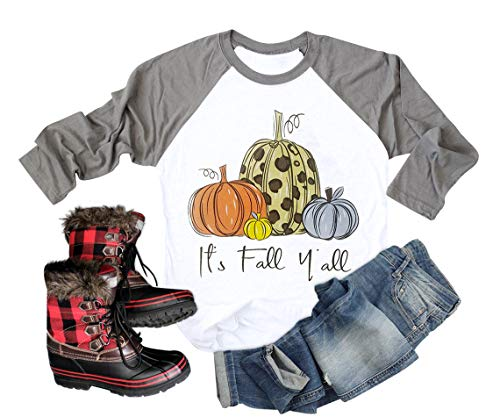 It's Fall Y'all Shirt Women Thanksgiving Pumpkin Graphic Funny 3/4 Ragon Sleeve Baseball Blouse Gray XL