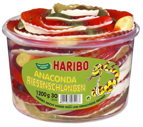 Haribo Boas, Bonbons Gélifiés et Guimauve, Fruité, 30 Pièces, 1 Boîte de 1200 gr
