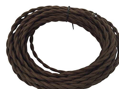 Brown Twisted Cotton 18/2 Cloth Cord - 25' Antique Style Wire - Vintage Style Cloth Cord - by Industrial Rewind