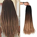 AliRobam 24Inch Hand made Small Box Braids Crochet Braiding Hair Extensions Ombre Kanekalon Synthetic Crochet Braids For Black Women 22Strands 6Packs (3S box braids, Black-dark brown-light brown)