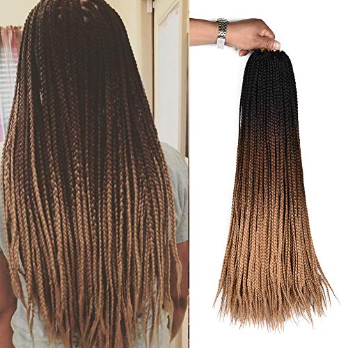 AliRobam Hair 24Inch 22Strands 6Packs Senegalese Twist Box Braids Crochet Hair Extensions Ombre Kanekalon Synthetic 3S Crochet Braids For Black Women (3S box braids, Black-dark brown-light brown)