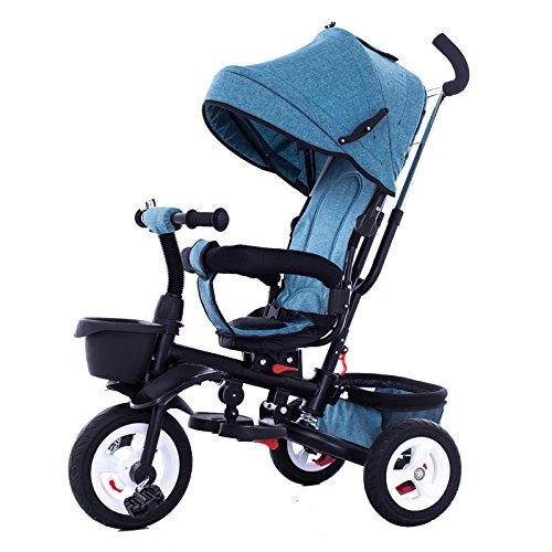 LZTET Tricycle pour Enfants Tricycle Vélo 1-3-6 Vélos pour Enfants à Trois Roues avec Auvent Multicolore,Blue