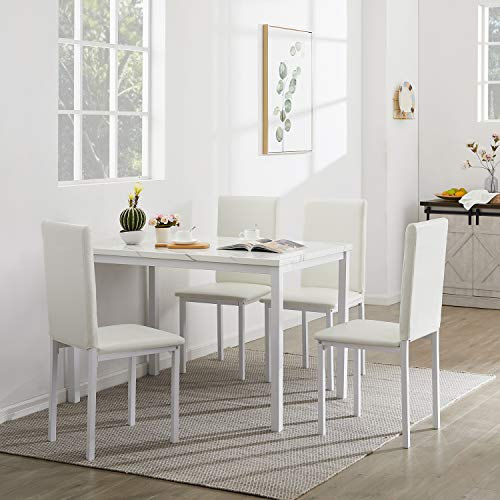 LinkRomat 5-Piece Kitchen Dining Set for 4 Counter Height Bar Table w/Marble Tabletop, 4 Faux Leather Chairs Small Spaces, White