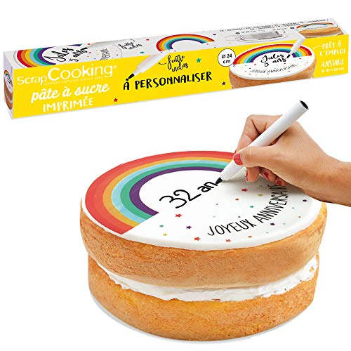 Rotolo di pasta di zucchero arcobaleno da personalizzare Ø 24 cm