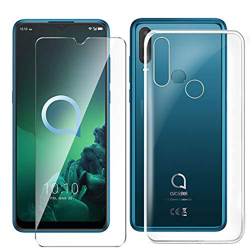HYMY Hülle für Alcatel 3X 2019 Smartphone + 1 x Schutzfolie Panzerglas - Transparent Schutzhülle TPU Handytasche Tasche Durchsichtig Klar Silikon Hülle für Alcatel 3X 2019 (6.52