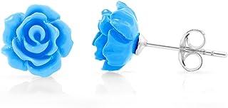 SUVANI 925 Sterling Silver Tiny Blue Rose Flower 9 mm Post Stud Earrings