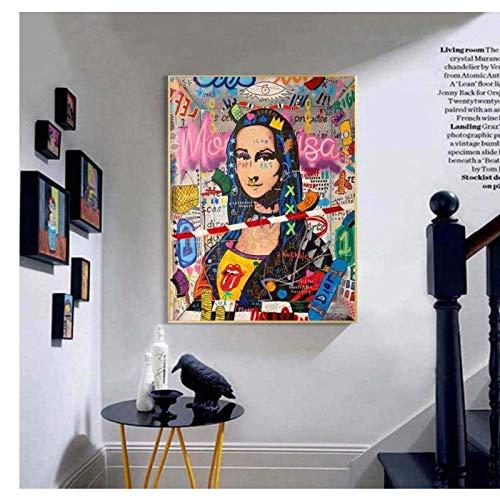 Crazystore Leinwand Kunst Wände Malerei 70x90cm ohne Rahmen Mona Lisa Straße Graffiti Kunst Poster und Drucke Lustige Leinwand Kunst Malerei Banksy Bild für Wohnzimmer Home Decr 1