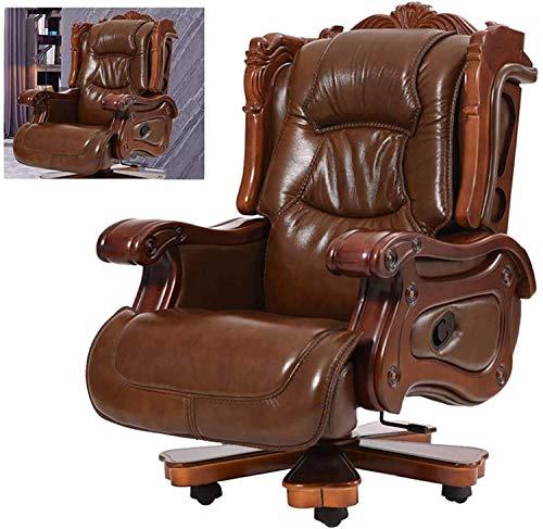 LILIS Racing Stuhl Gaming Stuhl Bürostuhl Executive Chairs Boss-Stuhl, anhebbar und drehbar, liegendes massives Holzleder, ergonomisches Design