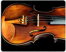 Natural Rubber Mouse pad Violin Orchestra Musical Instruments Isolated on Black Classical Music Instrument