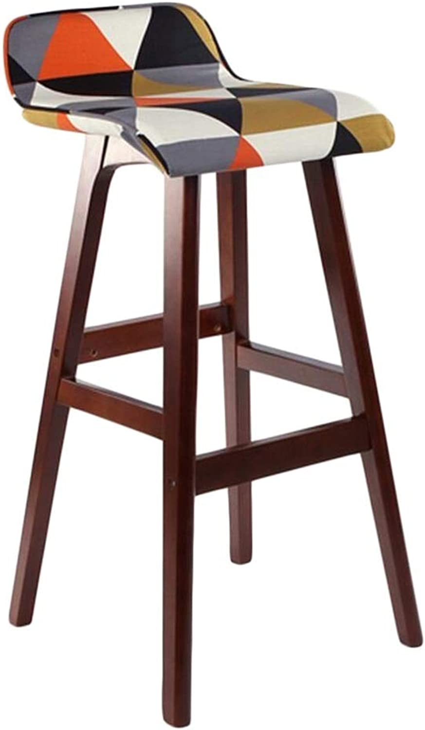 BARSTOOLRI Bar Stool with Backrest, Solid Wood Frame Non-Slip Ergonomic Removable Cushion Cover High Chair for Living Room Kitchen Office Garden (Size   Short)