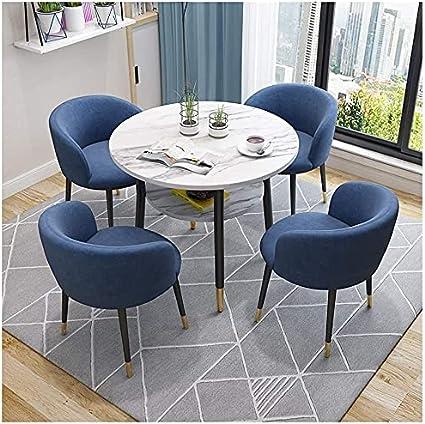 WANGQW Conjunto de Mesa de Comedor para Cocina o decoraci Sala de reuniones Jardín Table de Doble Capa Corredor de recepción Tienda de Ropa 1 Mesa y 4 sillas (Color : Navy Blue)
