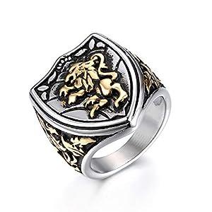JewelryWe Schmuck Retro Herren-Ring Edelstahl Löwe Schild König Krone Biker Ring Siegelring Band Bandring mit Gravur Gold Silber Größe 70