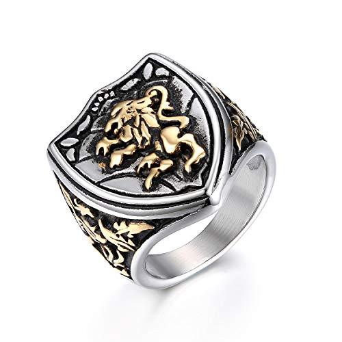 JewelryWe Mens Lion Shield Signet Ring,Cool Gothic Lion Shield Stainless Steel Mens Womens King Crown Ring(Size T1/2)
