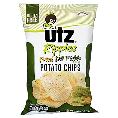 UTZ Potato Chips, Ripples, Fried Dill Pickle, 2.875 oz Bags (Pack of 4)