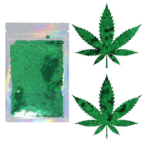 Green Weed Leaf Cosmetic Glitter - Festival Rave Beauty Makeup Face Body Nail - Pot Weed & Marijuana Leaves