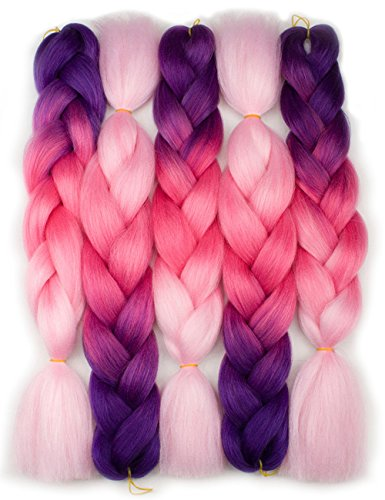 """Forevery Braiding Hair Kanekalon Synthetic Ombre Hair Braiding Extensions 5Pcs High Temperature Fiber Crochet Twist Braids Purple to Magenta to Pink (24"""", 10#)"""