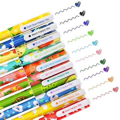 SITAKE 10 bolígrafos Kawaii divertidos bolígrafos de 0,38 mm de colores, bolígrafos de gel de escritura coreana, juegos de papelería japonesa, suministros escolares para adolescentes y mujeres (flor)