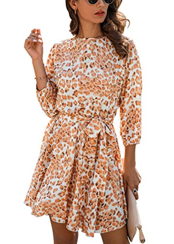 Spec4Y Damen Kleider Langarm Leopardenmuster Kurz Sommerkleid Swing Plissee Minikleid Rüschen Strandkleid Skaterkleid mit Gürtel Orange Large
