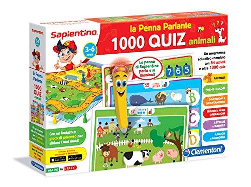 Clementoni - Penna Basic - Jeu avec Stylo (Version Italienne) 1000 Quiz animaliers
