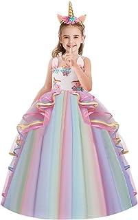 HOIZOSG Girls Unicorn Birthday Costume Princess Tulle Dress Sleeveless Christmas Party Wedding Pageant Ball Gown w/Headband