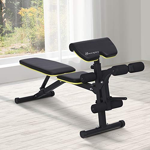 Soozier Adjustable Sit-Up Dumbbell Bench Multi-Functional Purpose Hyper Extension Bench with Adjustable Seat and Back Angle