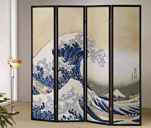The Great Wave-hokusai Shoji-screen 4 Panel #AD 51451