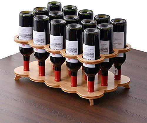 Simple creativo multi-cilindro de vino independiente, barra de bambú, sala de estar de vino, estante de vino, soporte de exhibición de gabinete de vino simple invertido,15