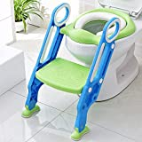KEPLIN Baby Toilet Reducer with Folding Ladder, Step Up Trainer Toilet Kit with Soft Cushion Universal Model (Verde)