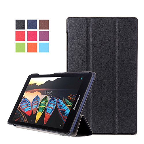 Kepuch Custer Case for Lenovo Tab 3 8 TB3-850F TB3-850M/Tab 2 A8-50F,Ultra-Thin PU-Leather Hard Shell Cover for Lenovo Tab 3 8 TB3-850F TB3-850M/Tab 2 A8-50F - Black