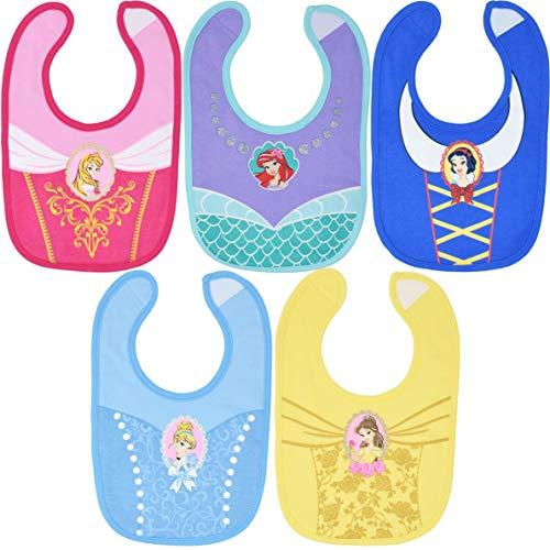 Disney Princess Baby Girls 5 Pack Bibs Belle Cinderella Snow White Ariel Infant