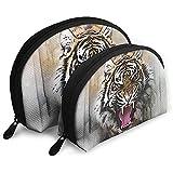 Tiger Predator Animal Art Bolsas portátiles Bolsa de Maquillaje Bolsa de Aseo, Bolsas de Viaje portátiles multifunción Pequeña Bolsa de Embrague de Maquillaje con Cremallera