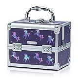 Joligrace Makeup Train Case for Girls Cosmetic Box Jewelry Organizer Hair Accessories Storage Lockable with Trays & Mirror Kids Gift Unicorn