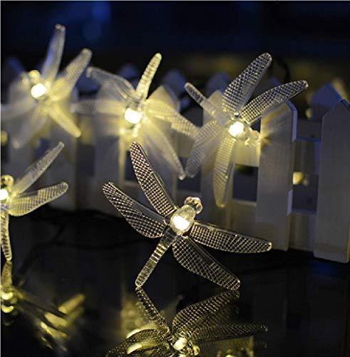 FODFKL Outdoor wasserdicht LED Solar Libelle Licht Schnur Urlaub Dekoration Halloween Garten Innenhof Schnur Licht (20LED, Warmweiß)
