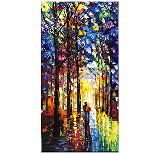 Fasdi 24x48inch Vertical wall art Hand-Painted LandscapeForest Scenery Art Wood Inside Framed Hanging Wall Decoration Abstract Painting