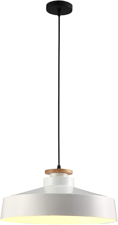 BDYJY Leuchter-Restaurant-Innendekoration-einzelner Kopf-Normallack-kreative Mode-einfache runde Eisen-E27-Lampe, wei