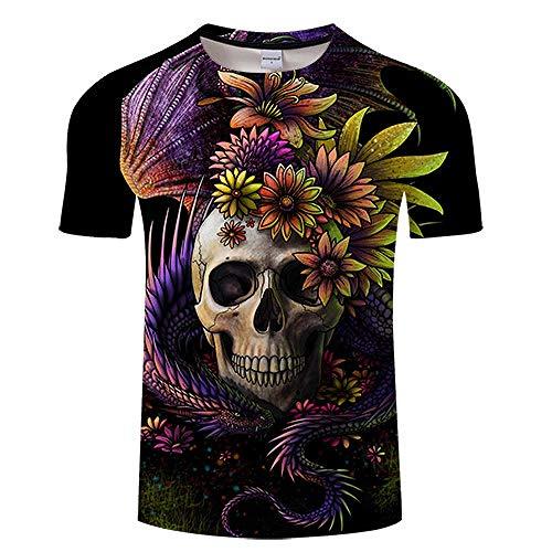 T-Shirt Girly Skull 3D Print T Shirt Hommes Femmes T-Shirt D'été Drôle À Manches Courtes O-Neck Tops & T-Shirts Noir Asian4Xl Tx270
