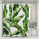 JOTOM Duschvorhang, Grüne Tropical Blätter Duschvorhänge Badewannenvorhang Schimmelresistenter & Wasserabweisend Shower Curtain mit 12 Duschvorhangringen 180x180cm (Grünes Blatt B)