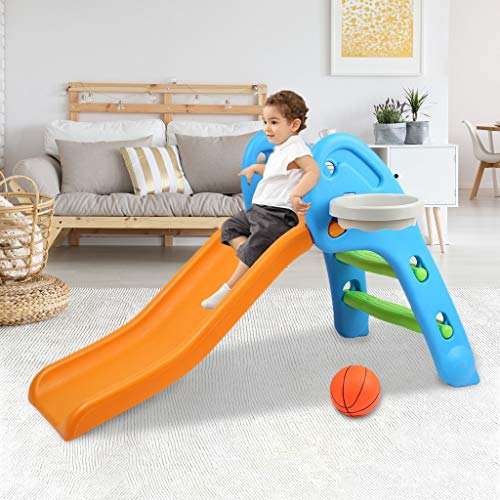 Kids Slide, Sturdy Toddler Climber Freestanding Slider Play Set, Playground Equipment Set Climber for Indoor Outdoors Use, Children Toy with Basketball Hoop for Outside Games