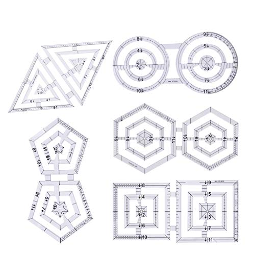 Dabixx Sewing Rulers Set, 5 Unidades/Set Acolchar Costura Patchwork Craft Escala Regla Triángulo Hexágono DIY Hecho A Mano Tailor Home Tools
