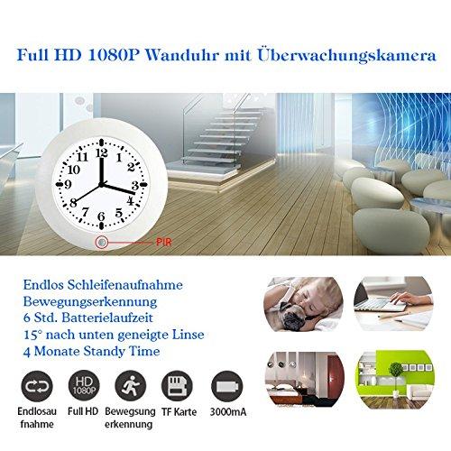 Weisse Wanduhr Uhr Clock mit versteckte Full HD Überwachungskamera Kamera Videokamera 2 Megapixel 90° PIR - Sensor Bewegungserkennung 4 Monate Standby (1920 x 1080 Pixel)